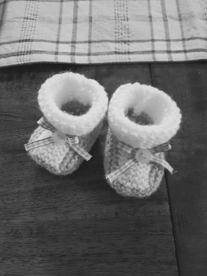 Baby bootees, knitted, never worn, miscarriage